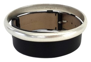 Maison Martin Margiela Black & Silver Leather Bracelet (One Size)