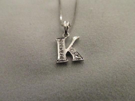 "Other 18K Solid White Gold Diamond Initial ""K"" Pendant"