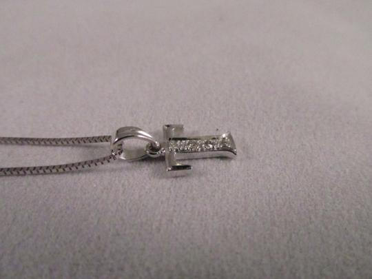 """Other 18K Solid White Gold Diamond Initial """"T"""" Pendant"""