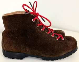 Vibram Vintage Hiking Pivetta Red Laces Brown Boots