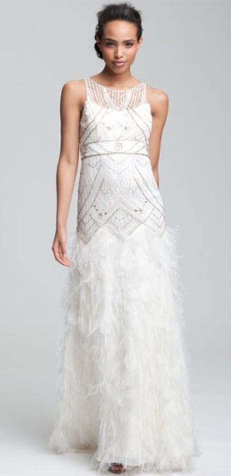 Sue wong long beaded ivory gown with feather detail for Sue wong wedding dresses