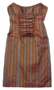Nicole Miller short dress Striped Silk Strapless on Tradesy