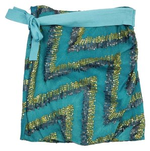 Other Teal Sequin Silk Skirt
