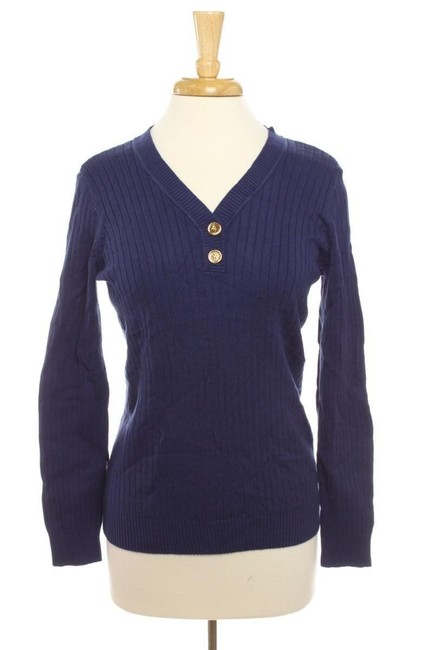 Karen Scott Cotton Machine Washable Imported V-neckline With Two Buttons Style Long Sleeves Ribbed Knit Sweater
