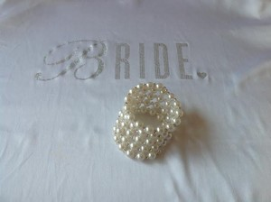 Bridal Pearl Bracelet Bangle With White Rhinestones