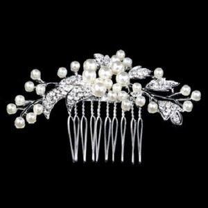 Crystal Bridal Wedding Tiara Handmade Flower Cream Hair Comb