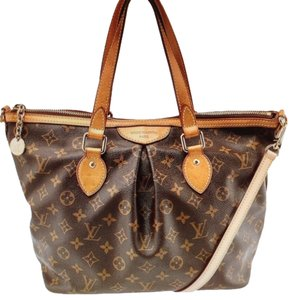 Louis Vuitton Palermo PM Monogram canvas leather brown crossbody tote Cross Body Bag