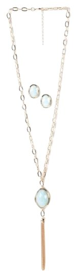 Breezy Couture Opal Gold Chain Tassel And Earrings Jewelry Set