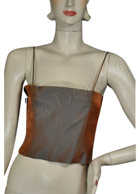 Gianfranco Ferre Silk Blend Bustier Top Copper