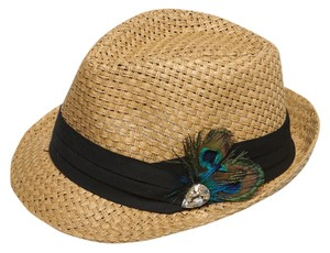 Alexis by Glitzy Bella Tan Straw Feather Time Fedora Hat NEW