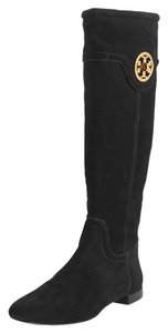 Tory Burch Suede Leather Round Toe Black Boots