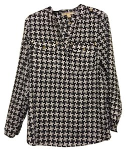 Michael Kors Top Houndstooth black and white