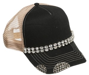 Alexis by Glitzy Bella Black and Tan Diamond Trucker Hat NEW