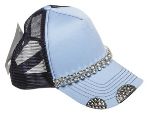 Alexis by Glitzy Bella Light Blue and Navy Diamond Trucker Hat NEW