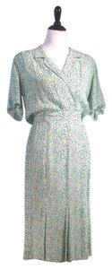 Liz Claiborne Tea Length V-neck Wrap Front Dress