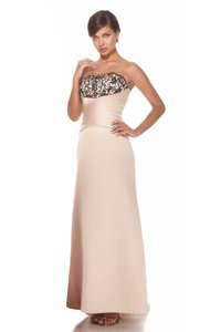 Alexia Designs Cream / Black Matte Satin / Lace Style 2940 Formal Bridesmaid/Mob Dress Size 10 (M)