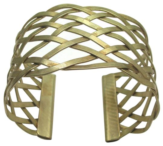 Vintage Vintage Lattice Weave Metal Cuff Bracelet