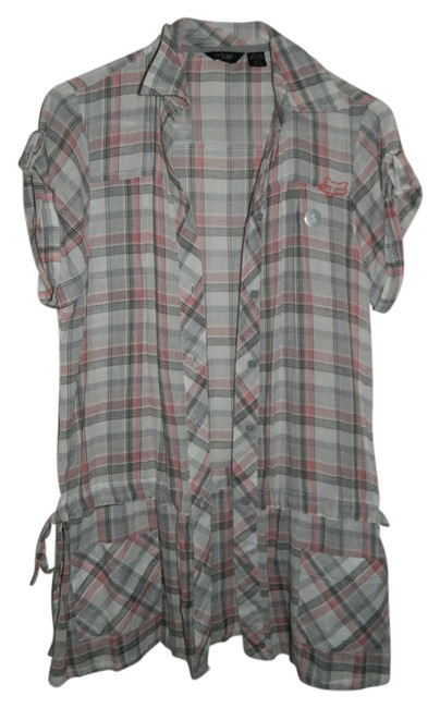 Fox Button Down Shirt Gray, white, and pink