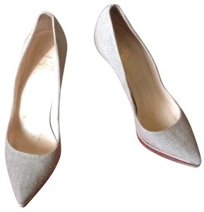 Christian Louboutin Beige / Tan Canvas / Linen Platforms