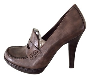 Studio Paolo Jalisa Penny Loafer High Heel Textured Brown Pumps