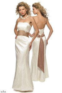 Alexia Designs Cream / Bronze Prima Satin Style 2700 Formal Bridesmaid/Mob Dress Size 10 (M)