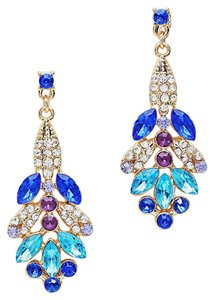 Contessa Multicolor Color Blue Rhinestone Crystal Drop Dangle Earrings