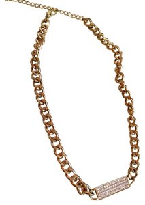 Lou Lou Gold chain necklace with rhinestone pendant