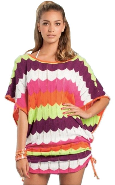 Item - Purple White Lime Green Pink Colorful Zig Zag Chevron Swimsuit Top Tunic Medium Cover-up/Sarong Size 8 (M)