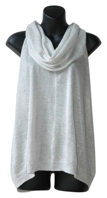 Item - Silver Glitter Open Back Loose Fitting Blouse Size 4 (S)