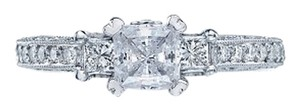 Tacori Tacori Princess Cut Classic Crescent Semi Mount Engagement Ring / Right-Hand Ring HT2258 SZ 6.5 Platinum