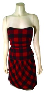 American Eagle Outfitters short dress Red black Sleeveless P1575 on Tradesy