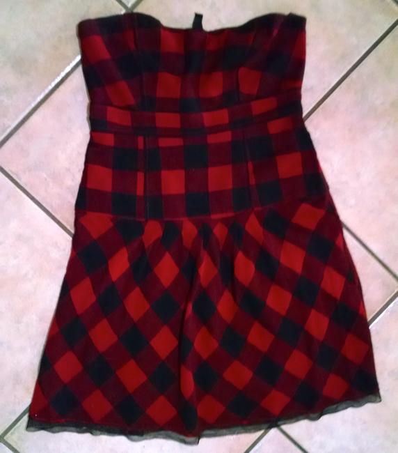 American Eagle Outfitters short dress Red black Square Print Sleeveless Knee Length P1575 on Tradesy