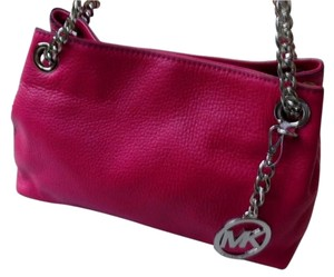 Michael Kors Leather Medium Messenger Dust Silver Tone Hardware Fuschia Messenger Bag
