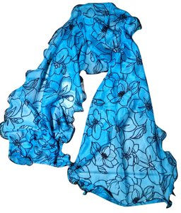 Other New Scarf Blue Black Long Floral P1577