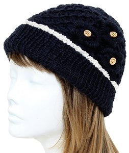 Black Knitted Lace Trim Buttoned Beanie Winter Hat Cap Head Warmer