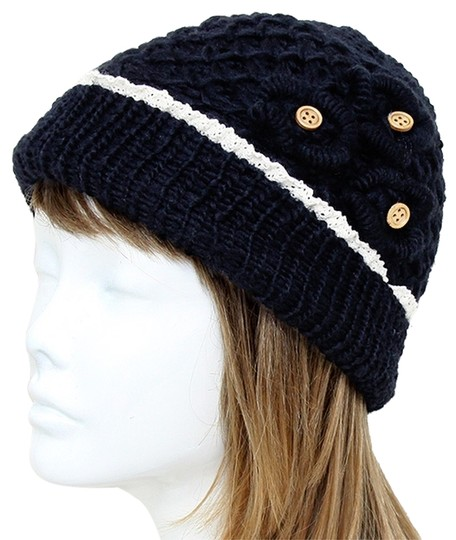 Other Black Knitted Lace Trim Buttoned Beanie Winter Hat Cap Head Warmer