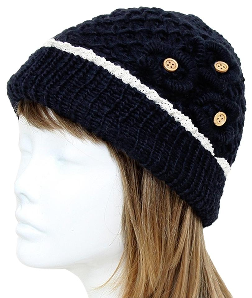 18098cee5c4 Other Black Knitted Lace Trim Buttoned Beanie Winter Hat Cap Head Warmer  Image 0 ...
