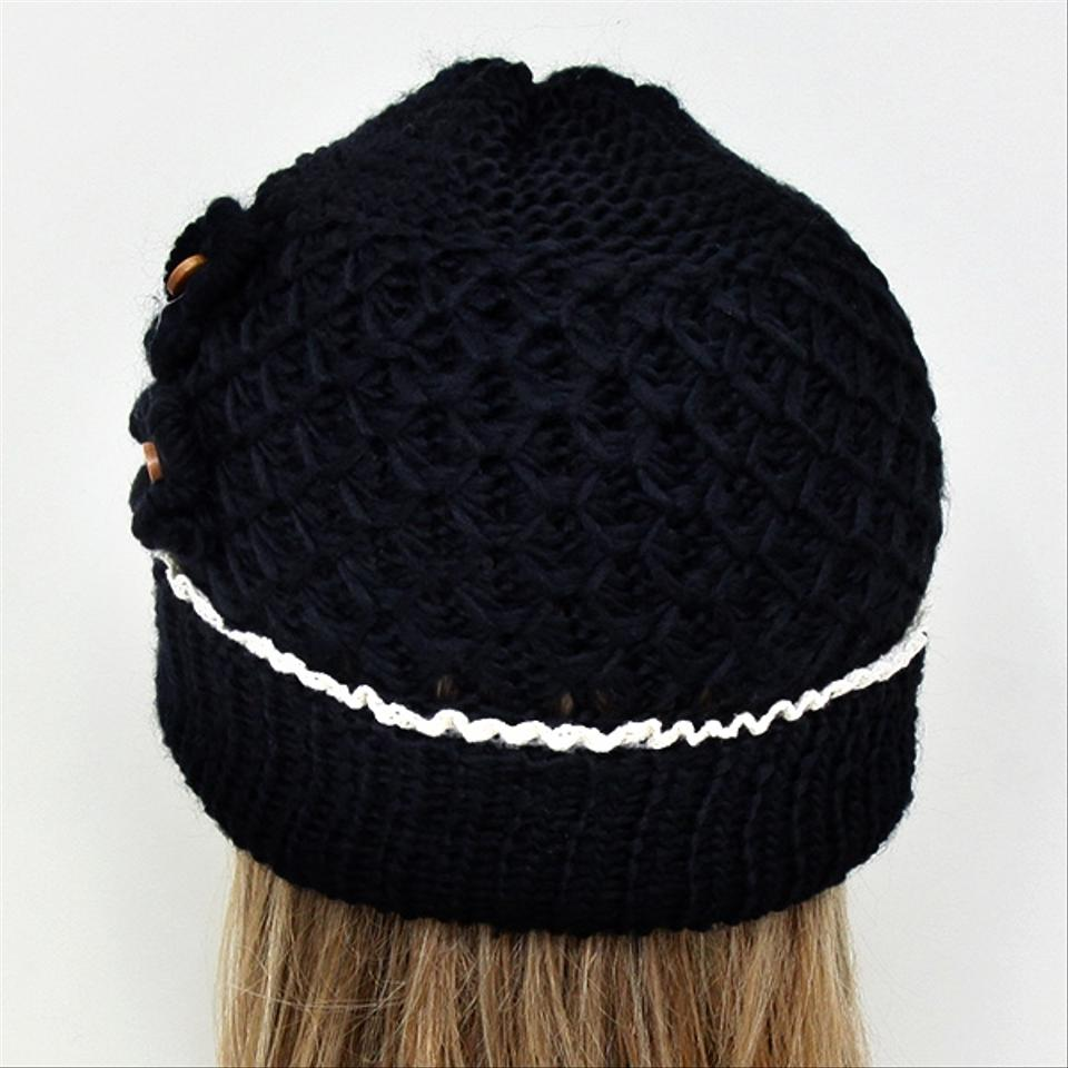 bc14d2bcf6f Other Black Knitted Lace Trim Buttoned Beanie Winter Hat Cap Head Warmer  Image 1. 12