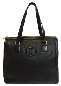Tory Burch Hannah Leather Tote in black