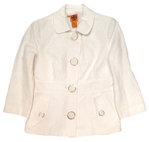 Tory Burch Logo Linen White Jacket