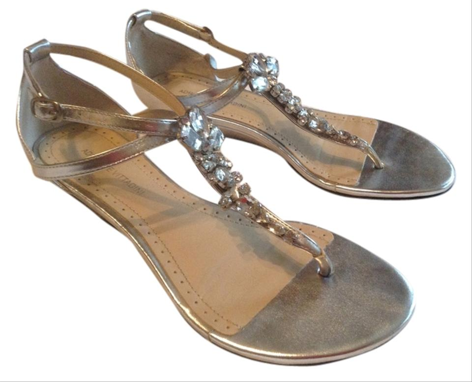 76eed5440d23 Adrienne Vittadini Flat Wedge Thong Rhinestone Crystal Leather T-strap  Silver Sandals Image 0 ...