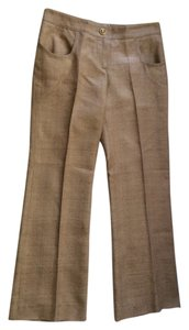 Chanel New Silk Trousers Tan Silk Size 36 Straight Pants Woven silk