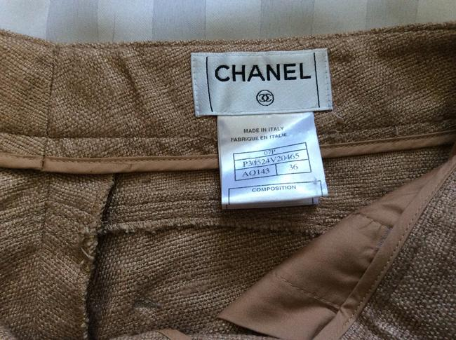 Chanel New Trousers Tan Size 36 Straight Pants Woven silk