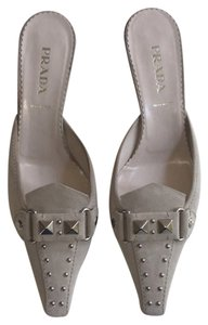 Prada Studded Gray/tan Mules