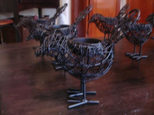 Black Wire Bird Tea Light Holders Votive/Candle