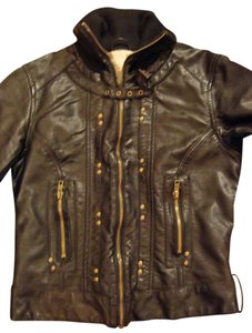 Arden B. Studded Bronze Hardware Motorcycle Full Zip Ribbed Collar Motorcycle Jacket