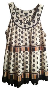 Anthropologie Top cream with print