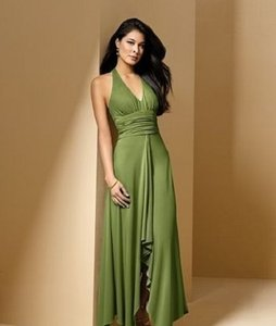 Alfred Angelo Green Jersey Knit Style 6586 Formal Bridesmaid/Mob Dress Size 10 (M)