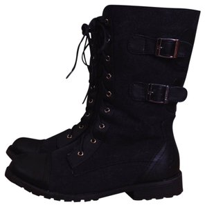 Groove Combat Military Lace-up Mid-calf Black Boots