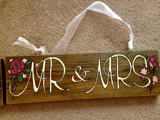 """just Married"" Wooden Signs."